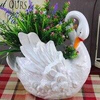Творческие подарки Европейский пастырской Стиль Керамика ремесел элегантность Лебедь ваза для хранения всякой всячины Танк Главная Гости