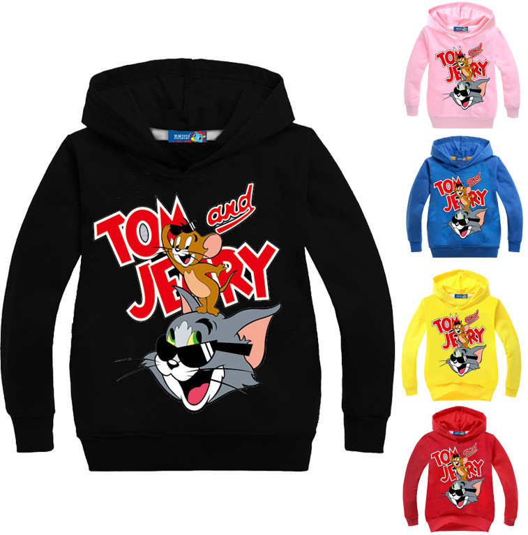 Z&Y 3-16Years Tom and Jerry Boys Pullover Hoodies and Sweatshirts Kids Jumpers Girls Coat Cartoon Printing Casual Outwear N7622