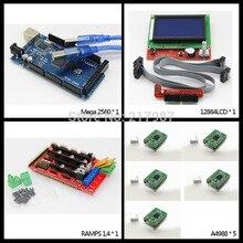 1 шт. MEGA 2560 R3 + 1 шт. ПЛАТФОРМЫ 1.4 контроллер + 5 шт. A4988 шагового модуль драйвера + 1 шт. 12864LCD