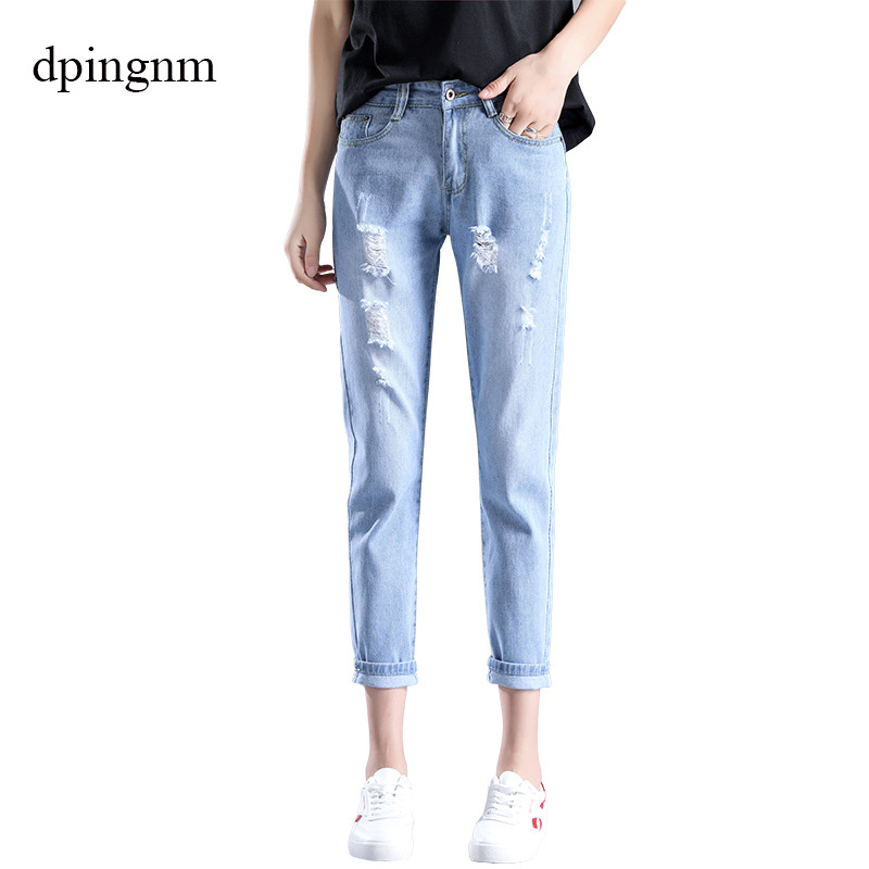 Fashion Large Size Women's Denim Nine Pants 2019 Spring And Summer High Waist Hole 3XL Blue Women's Elastic Feet Pants 115#