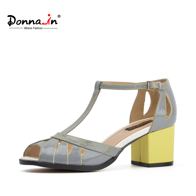 Donna-in Square High heels Women Sandals Genuine patent leather ladies shoes clearance Mixed color Summer Fashion Sandals