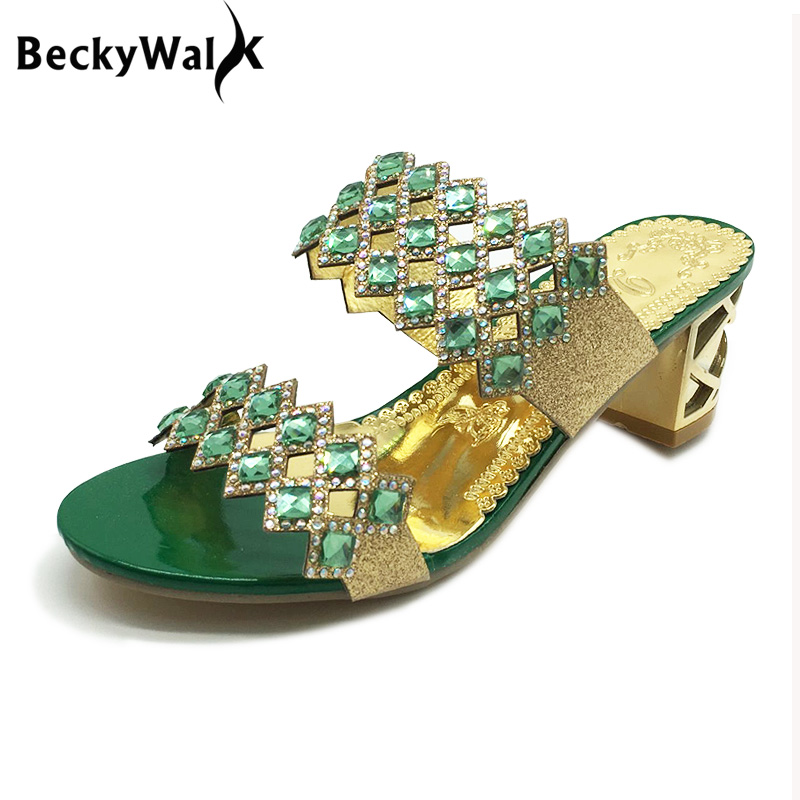 New Summer Sandals Women Peep Toe High Heels Sandals With Crystal Casual Slides Woman Shoes For Lady Sandalias Femininas WSH515 стоимость