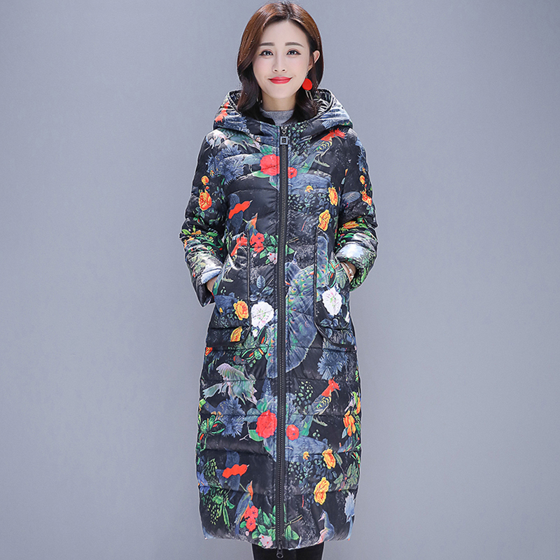 2019 New Arrival Women Winter   Down     Coat   Hooded Cotton Padded Vintage Printing Female Jacket Outwear Long Parka
