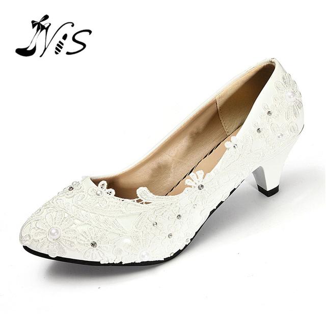 Rhinestones de Tacón bajo Zapatos de Las Mujeres Nuevo Blanco de Marfil de Damas de Honor Para Mujer de Encaje Bolas de Cristal Zapatos de Boda de Novia Talón Bombas Atractivas