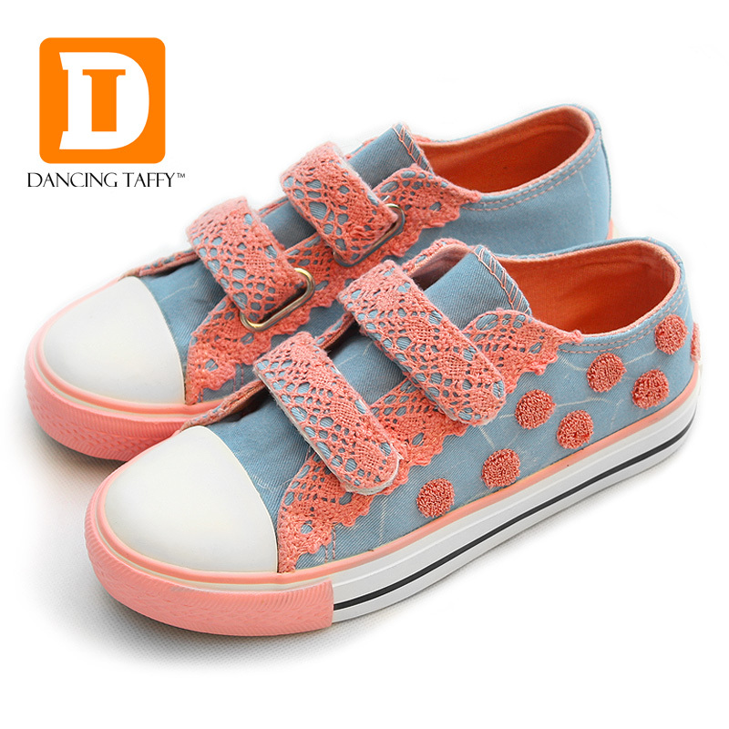 Fashion Polka Dot Children Shoes New 2017 Autumn Brand Princess Rubber Pink Casual Girls Kids Shoes Canvas Girls Sneakers