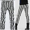 Fashion Men's Designer Slim Fit Black White Striped Pant with Pockets, 2016 Brand New Night Club Costume Straight Trousers