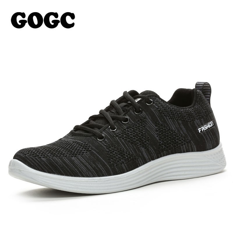 GOGC Summer Men Casual Shoes Vulcanize Shoes Black Running Sneakers Slip On For Man Brand Canvas Shoes Shoelaces Loafers G336