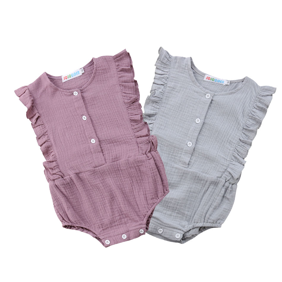 Pudcoco Princess Baby Girls Ruffles   Rompers   Solid Vintage Baby Girls Cotton Jumpsuit Baby Summer Clothing