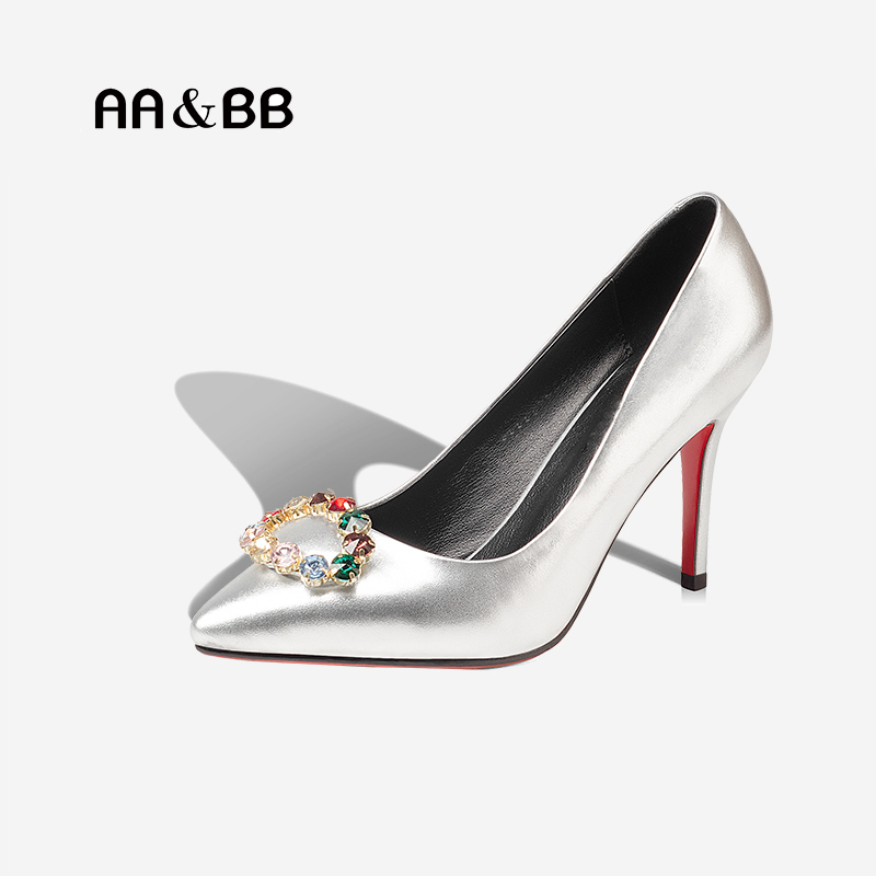 AA&BB Spring and autumn crystal sexy thin heel women's shoes elegant pointed toe wedding or dress high heels slip-on pumps womens shoes high heel woman pumps spring autumn basic silk slip on pointed toe thin heels sexy wedding shoes ljx04 q