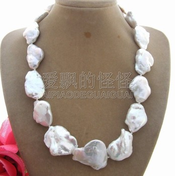 N013003 Rare Natural 20-30MM White Keshi Pearl Necklace