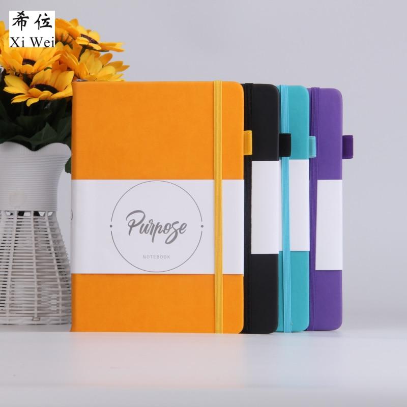 Cuero de la Pu cuaderno de tapa dura de papel de diario de logotipo personalizado banda elástica primavera Correa diario planificación planificador personal de puntos de bala