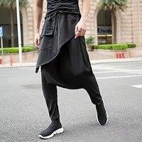 Hair Stylist Asymmetric Skirt Pants Feet Harem Pants Wide Width Pants Men Clothes 2018 Streetwear Hip Hop Men Pants Clothes Men