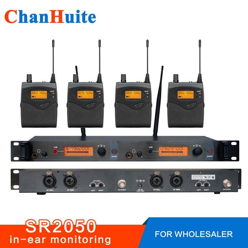 Pour Revendeur! SR2050 Professionnel dans le système de moniteur d'oreille avec 4 Récepteurs, moniteur dans l'oreille sans fil, moniteurs de surveillance