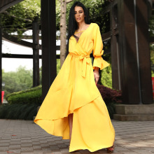 купить Summer Fashion Solid Color V-Neck Yellow Women plus size Dresses Asymmetrical Ruffle robe longue femme Wrap dress elegant дешево