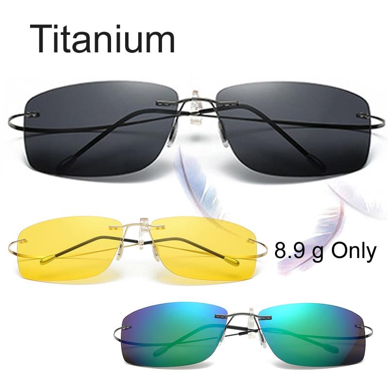 8.9 G Only Titanium Rimless HD Night Vision Glasses Polarized Sunglasses Memory Mirror Fishing Sun Glasses Oculos Gafas De Sol