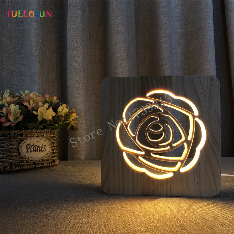 Nordic 3D Wooden Lamp Rose Pattern LED Night Warm White Lights as Gift