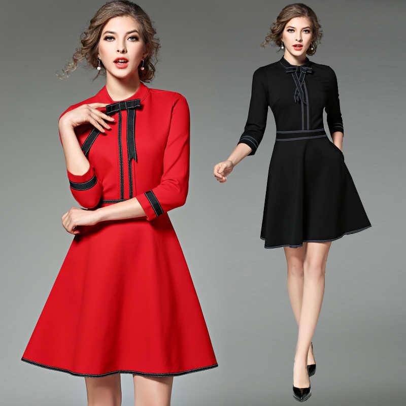 b7670d129f3 ... Новая дамская мода красный рождественское платье 2019 Vestidos Украина  черный для женщин платья для вечеринок зимние ...