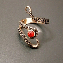 Tentacle Ring Band Octopus Ring Seductive Tentacle Ring in Ancient Rose Gold Plating Color Rhinestone by Octopus adjustable size