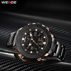 Regalo WEIDE de marca de lujo de la mejor Digital de cuarzo de acero inoxidable MOVIMIENTO de cronógrafo Correa Calendario, reloj Masculino