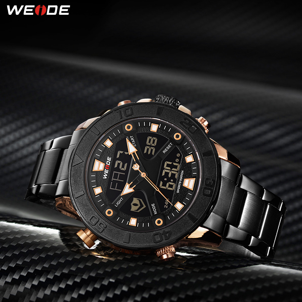 WEIDE Top Luxury Brand Quartz Digital Movement Stainless Steel Strap Chronograph Calendar Men Wristwatch Relogio MasculinoWEIDE Top Luxury Brand Quartz Digital Movement Stainless Steel Strap Chronograph Calendar Men Wristwatch Relogio Masculino
