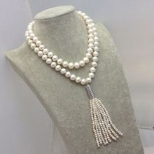 Free shipping natural pearl necklace sweater chain length 10-11MM natural pearl pendant with a silver tassel