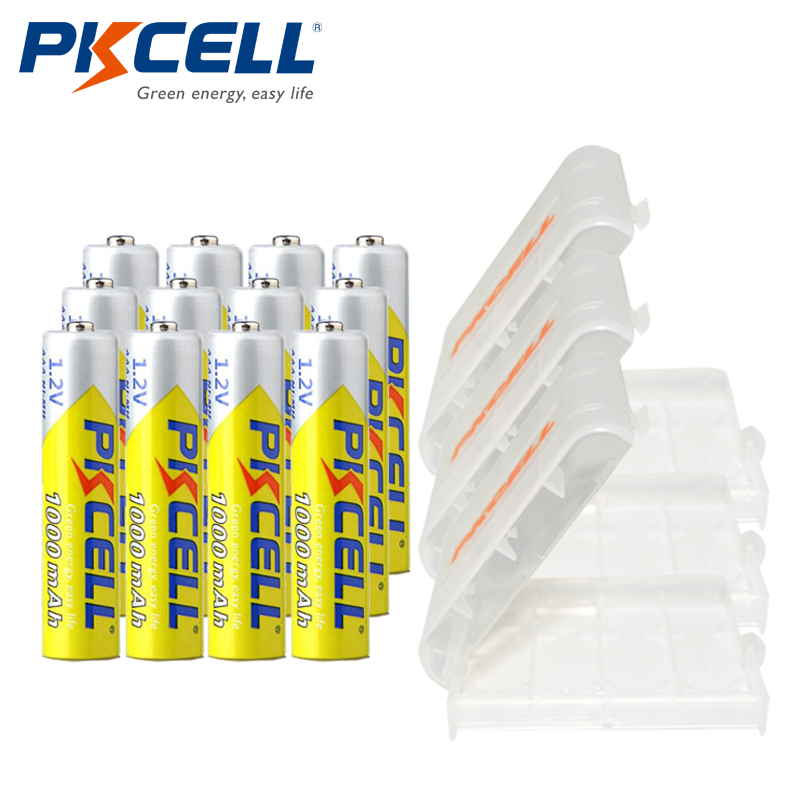 12 X PKCELL AAA Battery Ni-MH 1.2V 1000MAH AAA Rechargeable Battery Batteries 3A Bateria Baterias + 3Pcs Battery Hold Case Box 4pcs set battery parts pkcell 9v batteries 6f22 single sex dry 9 v battery zinc carbon battery