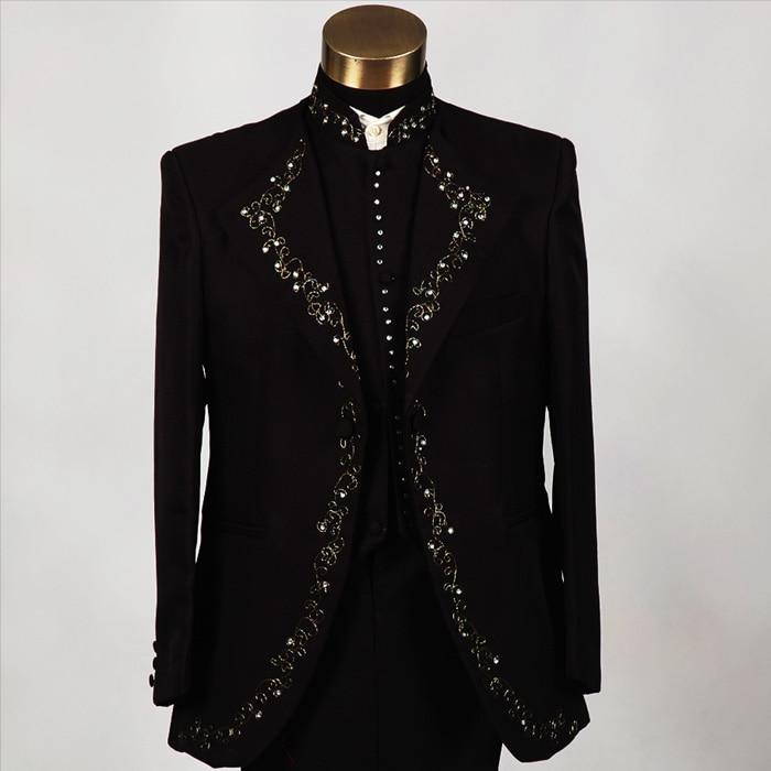 Slim Fit Rhinestones Embroidered Sequins Singer Suits