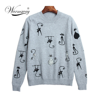 New Autumn Women Christmas Sweater Cat Print Pearl Beaded Luxury Pullover Women Knitted Jumper Female Tops C 050