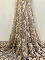 golden Guipure Lace Fabric 2018 Wholesale And Retail Beaded Tulle Lace Fabric For Wedding Dresses Promotion 3d Fabric Flowers