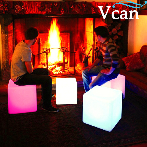 40*40*40cm Colours Change Rechargeable Lithium Battery Remote Control  Hot LED Furniture LED Light Up Square Cube Chair Seat