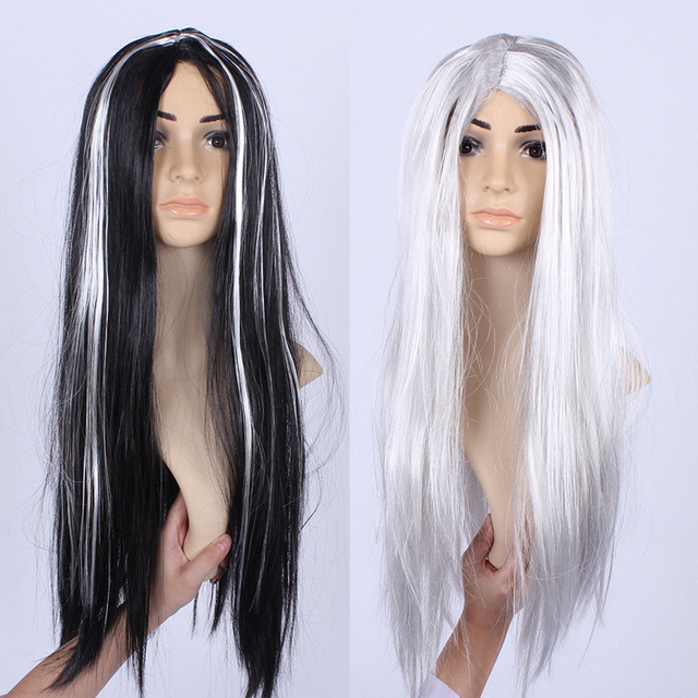 Halloween Masquerade Costume Props Whole Black And Silver Hair Wig  Fancy Dress Party Wigs Halloween Decoration
