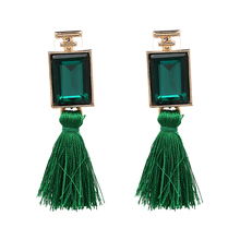 2017 New Arrival Square Crystal Dangle Earring Vintage Boho Statement Yarn Tassel Earring For Women Wholesale Hot Sale 3 Colors