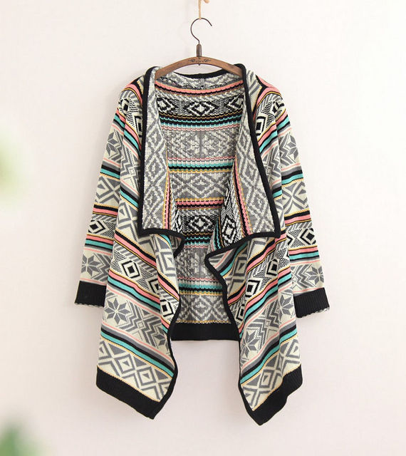 Hot Sale Women Cardigan Aztec Jacquard Shawl Irregular Boho Knitted ...
