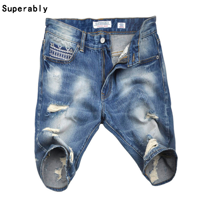 Swaggy Knee Length Hole Jeans Shorts Men Superably Brand Clothing Slim Fit Denim Shorts Blue Short Destroyed Moto Jeans UE357 brand clothing men s destroyed jeans shorts high quality straight knee length designer casual blue ripped short jeans men r109