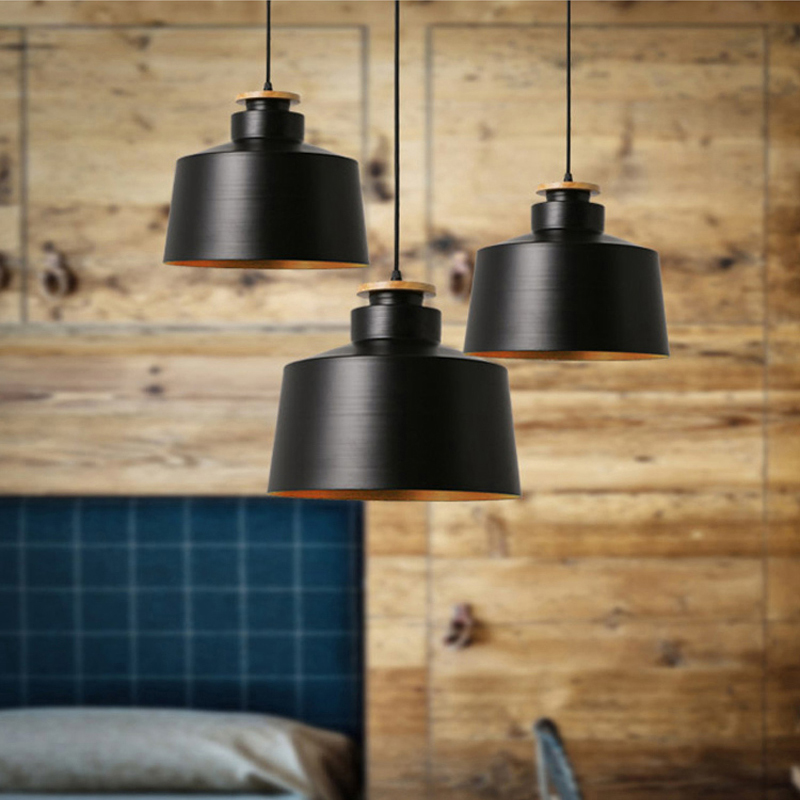 Creative wood e27 pendant lights 110v 220v for personality decor wood metal lampshade hanging lamp white black luminaire in pendant lights from lights