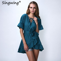 Singwing Ruffles Elegant Party Dresses Vestidos Dresses High Street Holiday Dress Women Lare Sleeve Female Bandage