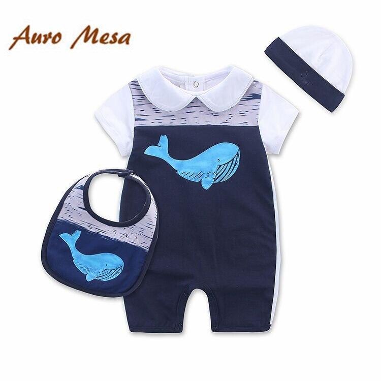 Ny sommer nyfødt jumpsuit hval print En-delt Romper + Hat + Bib Cotton Baby Tøj Outfit