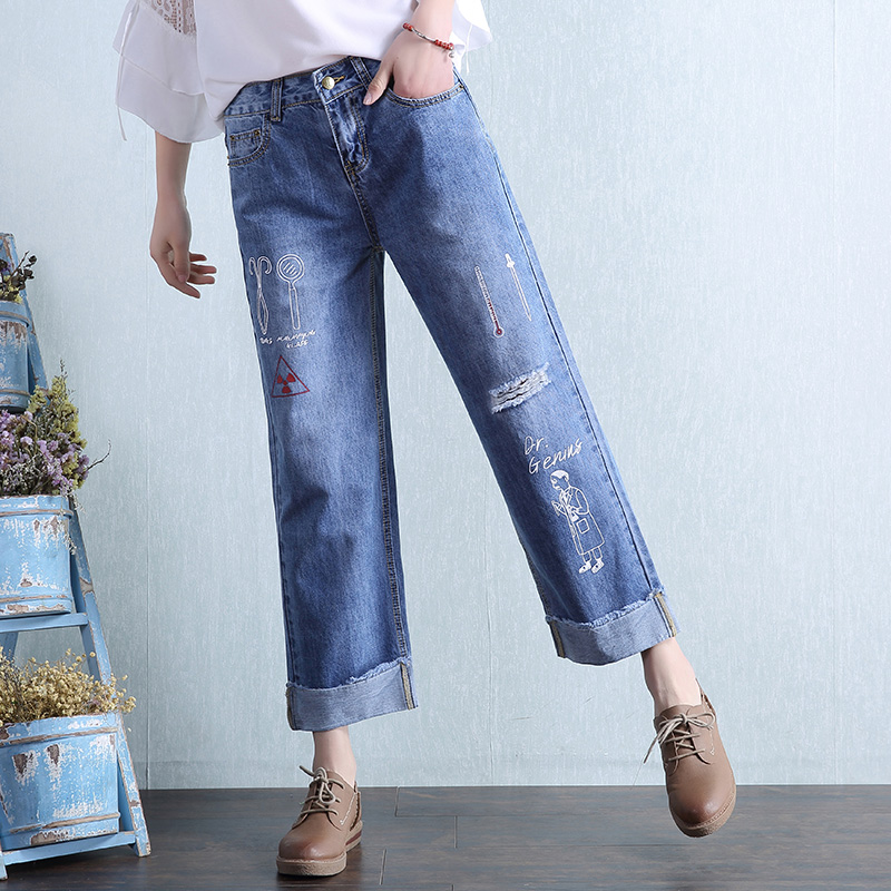 Women Plus Size Denim Wide Leg Pants Ladies Casual Loose Printted Ankle-Length Holes Straight Jeans Trousers Blue L369 new fashion 2017 women s wide leg pants jeans ladies loose ankle length denim pants high quality women hole jeans pants american