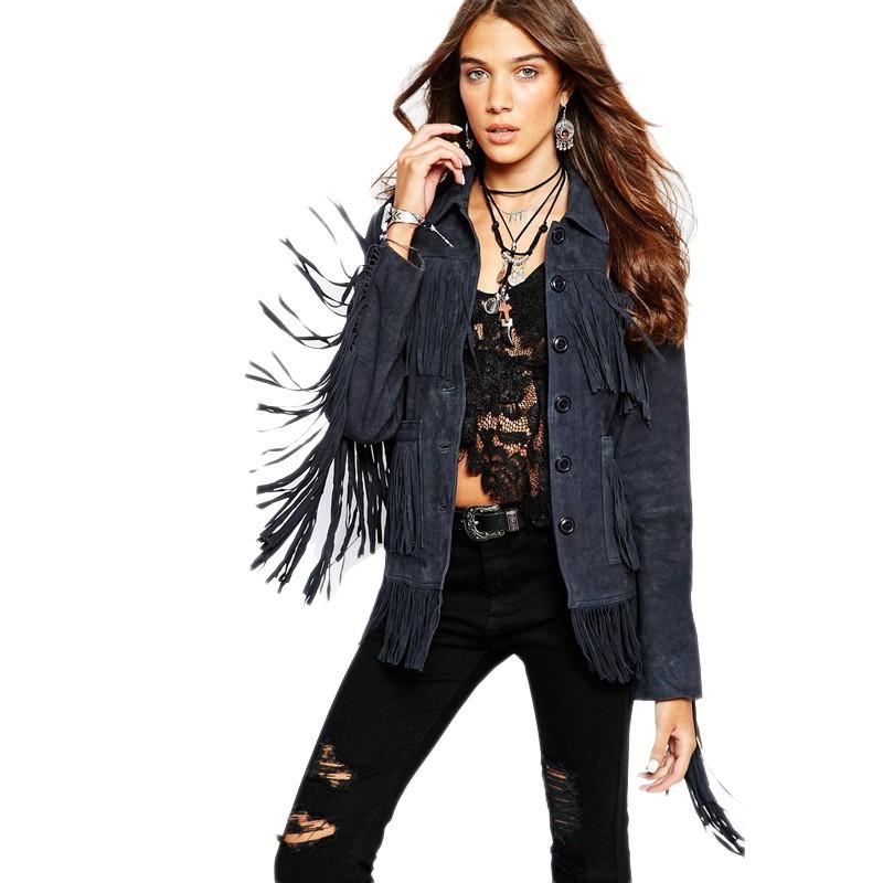 2015 Fashion Autumn Winter Women Jacket Europe Luxury Tassel Suede Jacket Stitching Single Breasted Coat Female Outwear JT257 (1)