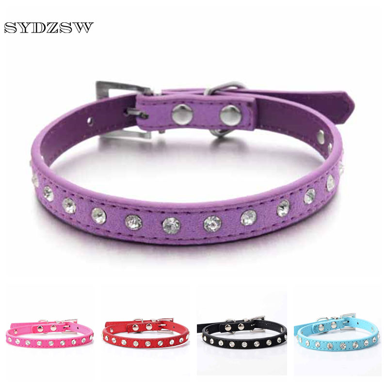 Purple Leather Rhinestone Dog Collar