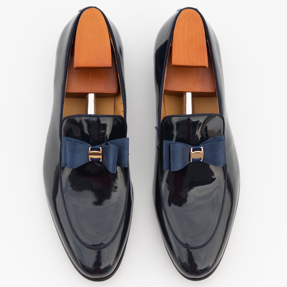 Men Casual Wedding Shoes Pointed Toe Slip-On Fashion Formal Solid Blue Patent Leather Floral Banquet Prom Men's Dress Loafers