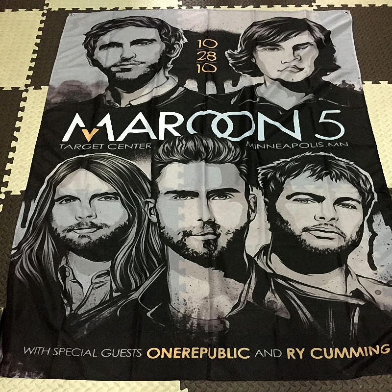 Maroon 5 Rock Band Sign Retro Bar Cafe Gallery Music Festival Decorative Wall Stickers Hanging Flags Hanging Cloth Art Poster