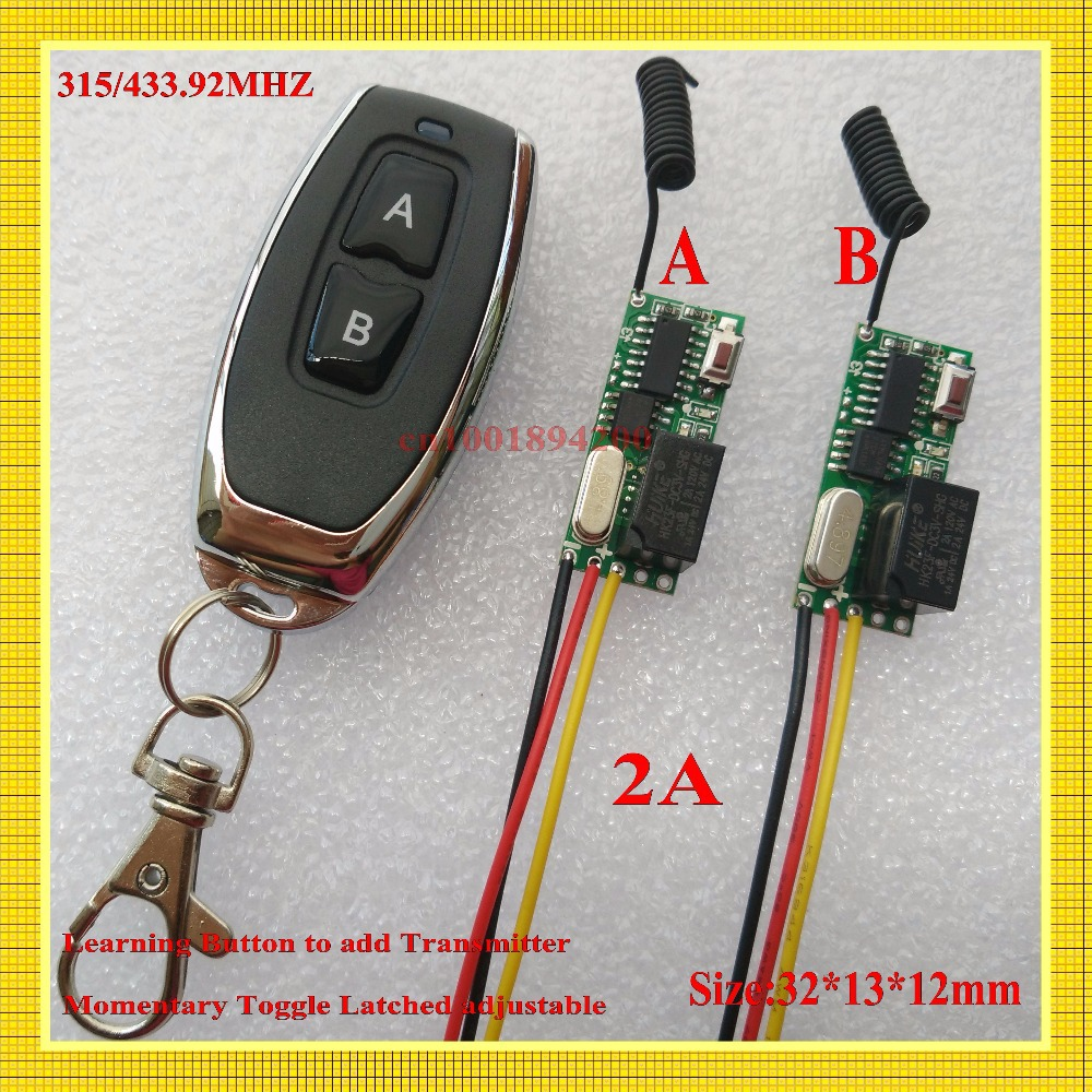DC 3V 5V Relay Micro Remote Switch 315/433 2A Receiver Transmitter Mini Size Wireless Switch Learning Code ASK Smart Home Switch mini remote control switch system micro dc3v 5v 2a relay 2 receiver transmitter momentary toggle latched learn 315 433