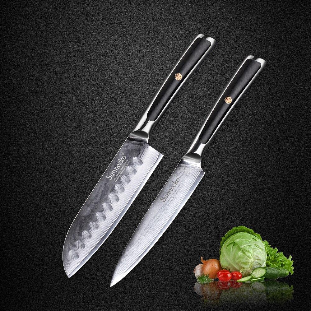 SUNNECKO 2 PCS Cuisine Couteaux Set Japonais Damas VG10 Acier Rasoir Lame Tranchante G10 Poignée Santoku Utilitaire Outils De Coupe De Viande