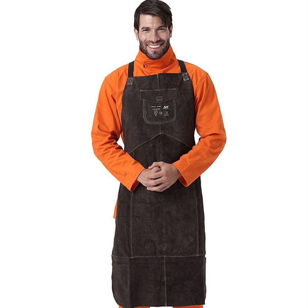все цены на Professional Welding Apron Leather Cowhide Welder Protect Cloths Carpenter Blacksmith Garden Clothing Brown Color Working Apron