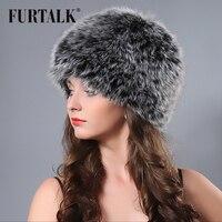 עיצוב החדש חם בעלי החיים כובע הפרווה כובע כובע סרוג גבירותיי פרוות שועל טבעי לבן