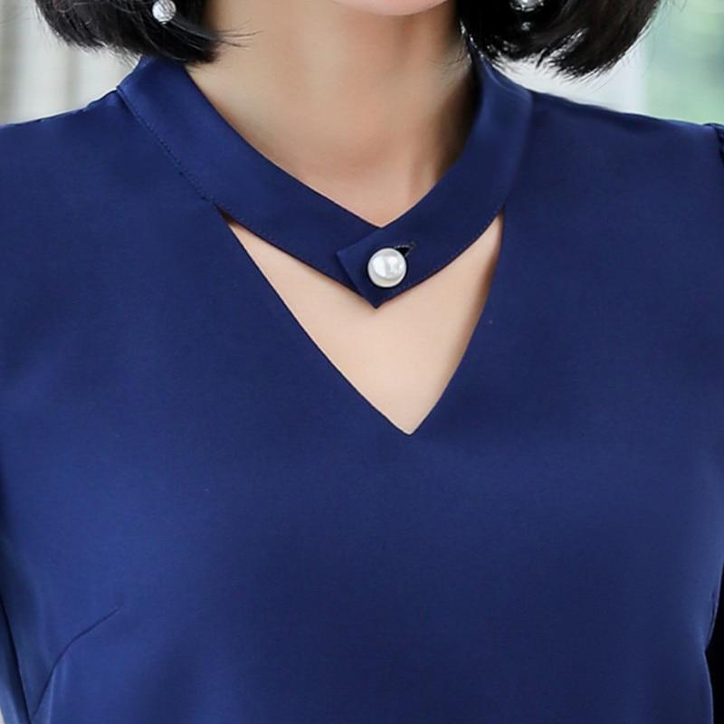 Image 5 - 2018 New slim formal long sleeve women shirt OL autumn Elegant temperament V Neck chiffon blouse office ladies plus size topsblouse officeoffice ladyplus size tops -