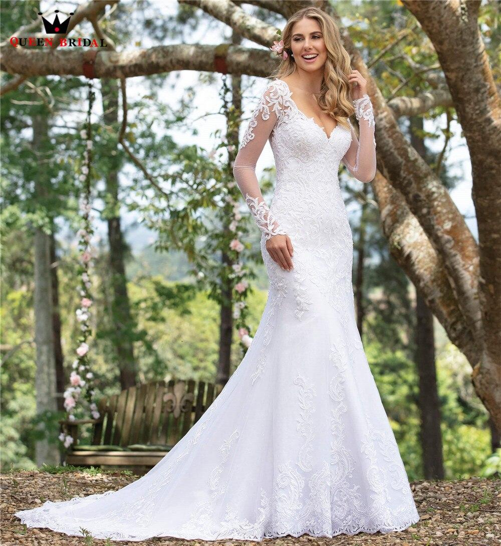 Custom Made Mermaid Long Sleeve Lace Beading Sequins Sexy Elegant Formal Wedding Dresses Vestido De Noiva 2020 WH43