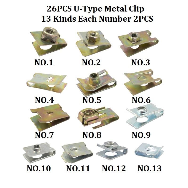 Смешанный авто бампер колеса брови крыло пластиковый крепеж винт заклепки для всех автомобилей Клип Набор - Название цвета: A2-26Pcs Metal Clip