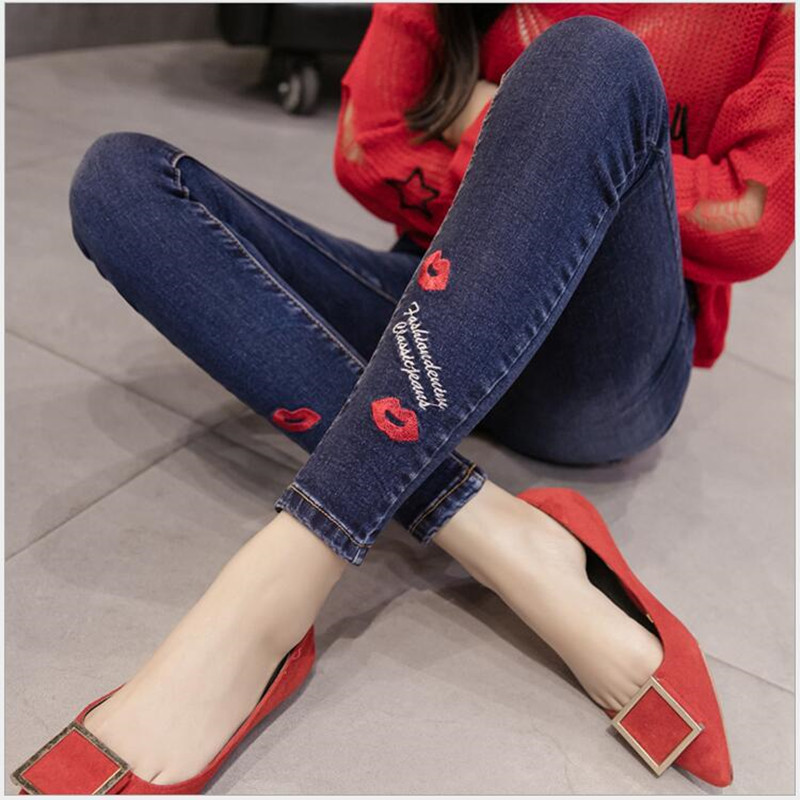 9 Color Fashion Jeans For Women Lips Flowers Embroidery Holes Styles Trousers Elasticity Jeans Slim Was Thin Cuffs Pencil Pants